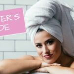hair masks, woman in bathtub with towel on her head, at home hair care