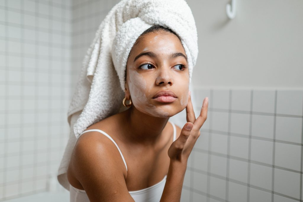 Woman Applying natural product for skincare
