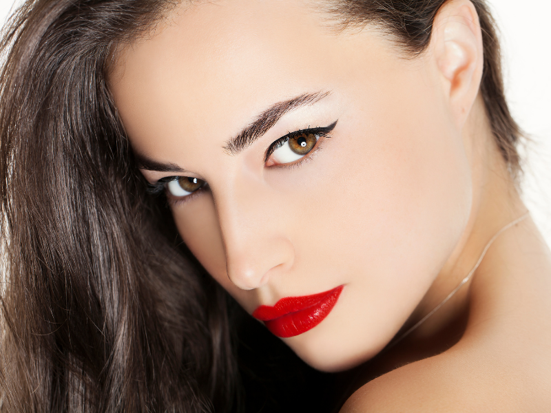Woman with Bold Lips